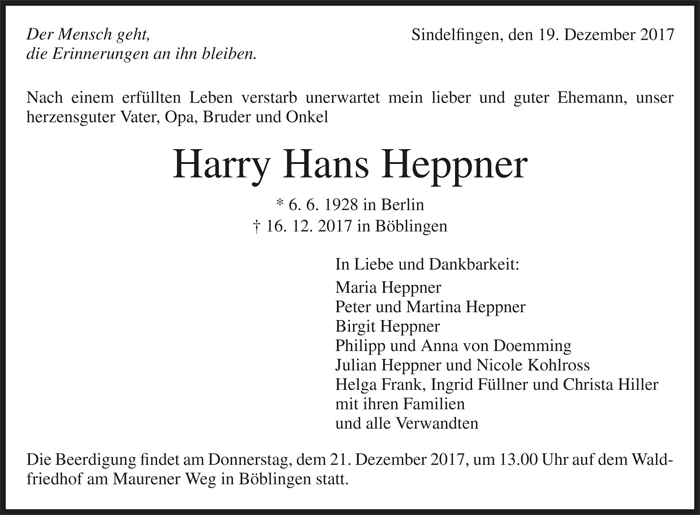 TA Harry Hans Heppner