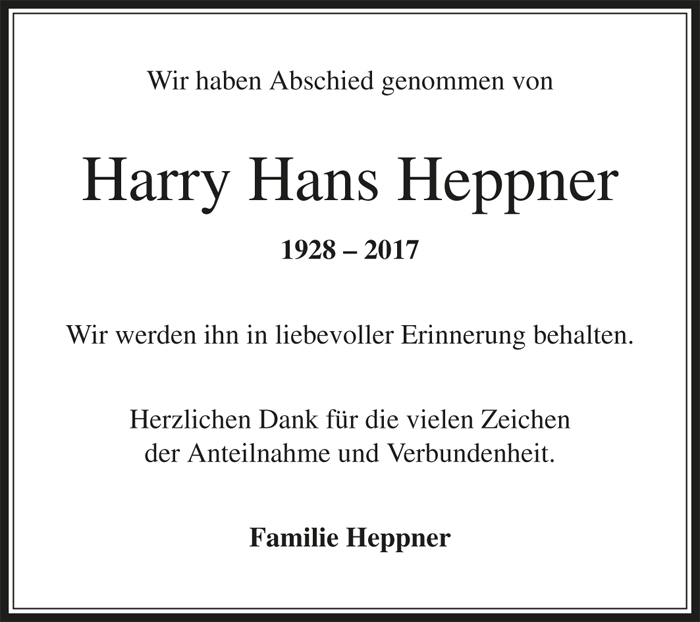 Nachruf Harry Heppner