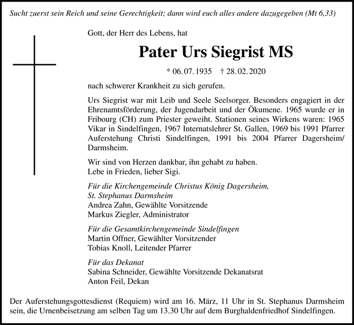 NR Pater Urs Siegrist MS